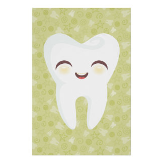 Cute Tooth on Green Pattern Wall Art Poster