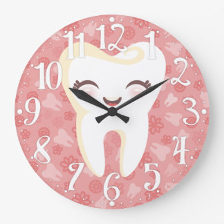 Cute Tooth - Pink Wall Clock