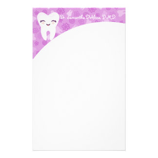 Cute Tooth - Purple Personalized Stationery
