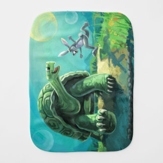 Cute Tortoise and the Hare Art Burp Cloth