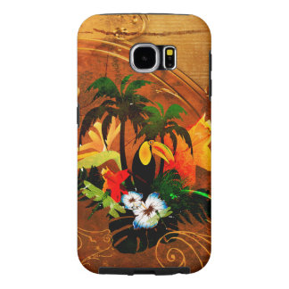 Cute toucan with flowers samsung galaxy s6 cases