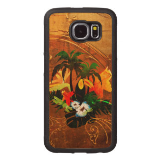 Cute toucan with flowers wood phone case