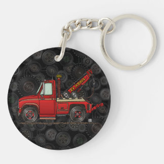 Cute Tow Truck Wrecker Double-Sided Round Acrylic Key Ring