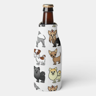 Cute Toy Dog Breed Pattern Bottle Cooler