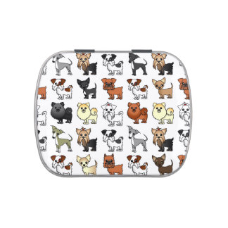 Cute Toy Dog Breed Pattern Jelly Belly Tins