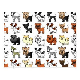 Cute Toy Dog Breed Pattern Postcard