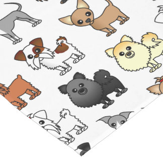 Cute Toy Dog Breed Pattern Short Table Runner