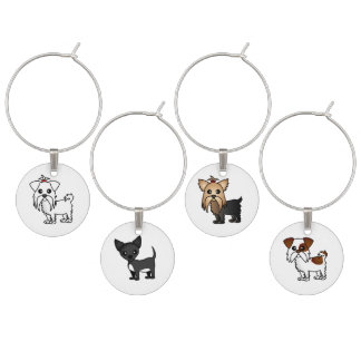 Cute Toy Dogs Wine Charm Set