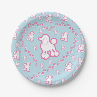 Cute Toy Poodle Pattern Paper Party Plates 7 Inch Paper Plate
