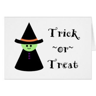 Cute Toy Witch Halloween Trick Or Treat Card