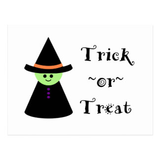 Cute Toy Witch Halloween Trick Or Treat Postcard