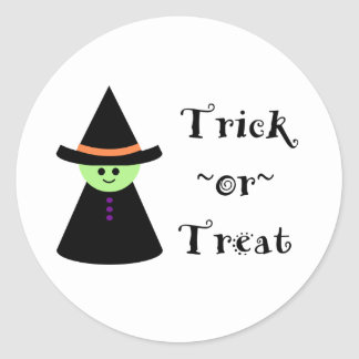 Cute Toy Witch Halloween Trick Or Treat Stickers