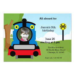 Kids train birthday cards invitations zazzle cute train birthday card bookmarktalkfo Image collections