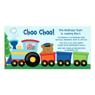 Cute train birthday party invitation photo card