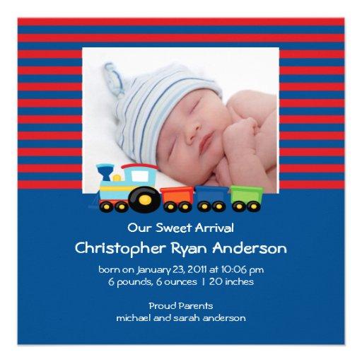 Cute Trains Baby Boy Photo Announcement