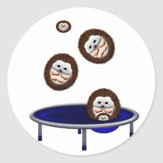 cute trampolining hedgehogs classic round sticker