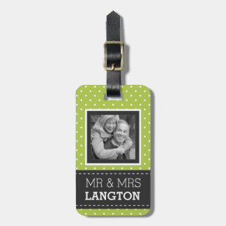 Cute Travelling Couple Mr and Mrs Photo Polka Dots Luggage Tag