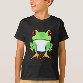 Cute Tree Frog Cartoon Black Kids T-Shirt