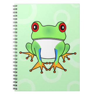 Cute Tree Frog Cartoon - Light Green Circles Notebooks