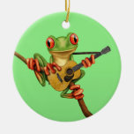 Cute Tree Frog Playing an Acoustic Guitar Green Christmas Tree Ornament