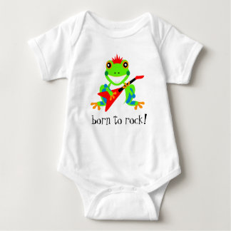 Cute Tree Frogs Holding Michaelmas Daisies Baby Bodysuit