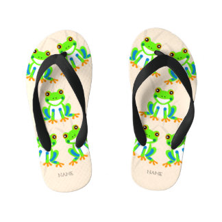 Cute Tree Frogs in the Grass Kid's Thongs