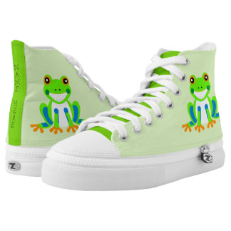 Cute Tree Frogs in the Grass Printed Shoes