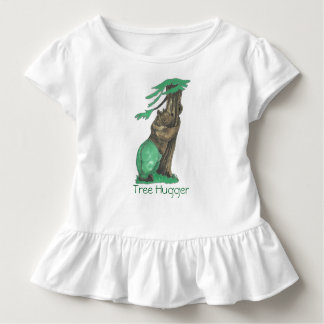 Cute Tree Hugger Bear With Leggings Forest Green Toddler T-Shirt