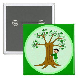 Cute Tree Hugger Design 15 Cm Square Badge
