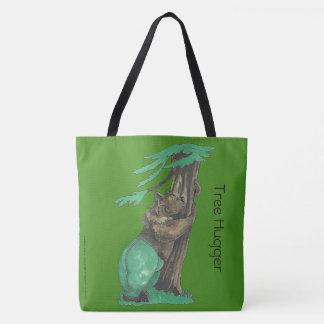 Cute Tree Hugging Bear Wearing Fancy Leggings Tote Bag
