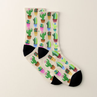 Cute Trendy Cartoon Cactus in Planters Pattern 1