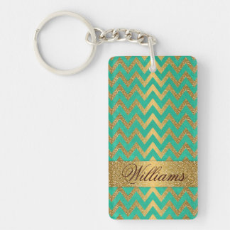 Cute trendy chevron zigzag faux gold glitter Double-Sided rectangular acrylic key ring