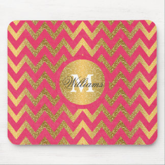 Cute trendy chevron zigzag faux gold glitter mouse pad