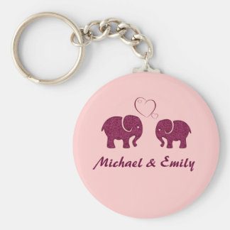 Cute trendy  elephant in love personalized key ring