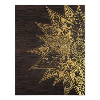 Cute trendy flower henna hand drawn design 11 cm x 14 cm invitation card