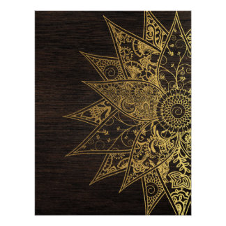 Cute trendy flower henna hand drawn design print