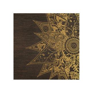 Cute trendy flower henna hand drawn design wood canvas