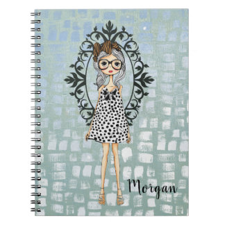 Cute Trendy Girl with Glasses Notebook