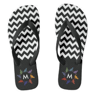 Cute trendy girly colorful chevron cats monogram thongs