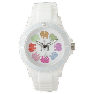 Cute trendy girly colorful elephants monogram watch