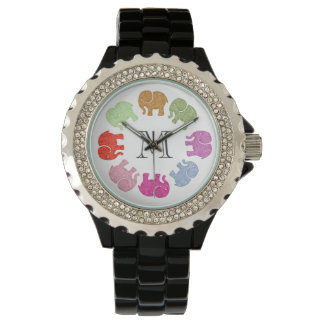 Cute trendy girly colorful elephants monogram wrist watches