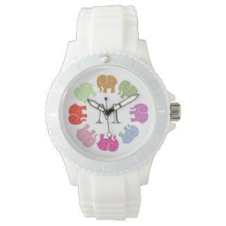 Cute trendy girly colorful elephants monogram wristwatch