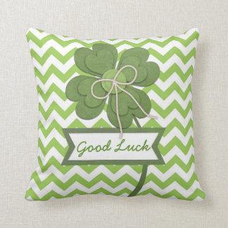 """Cute trendy girly """"Good Luck"""" four leaf clover Cushion"""