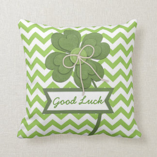 "Cute trendy girly ""Good Luck"" four leaf clover Throw Pillow"