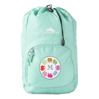 Cute trendy girly modern elephants monogram backpack