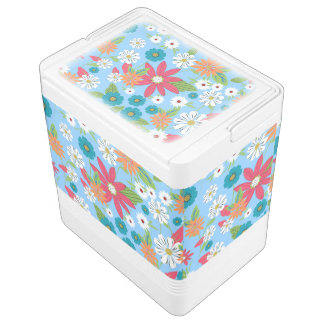 Cute trendy girly soft colours floral pattern cooler