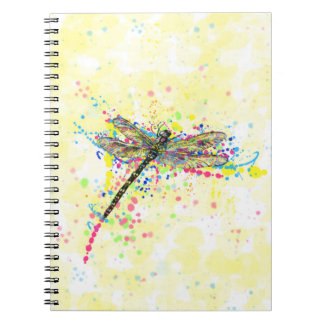 Cute trendy girly watercolor splatters dragonfly notebook