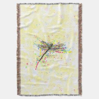 Cute trendy girly watercolor splatters dragonfly throw blanket