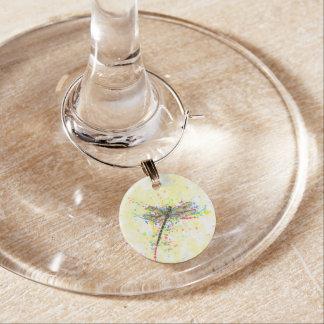 Cute trendy girly watercolor splatters dragonfly wine charm