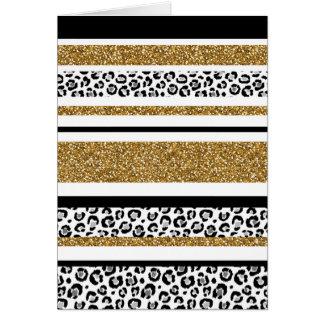 Cute trendy  gold faux glitter leopard stripes card
